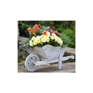 """Bac à fleurs """"Brouette"""" en bois blanc (30140302)"""