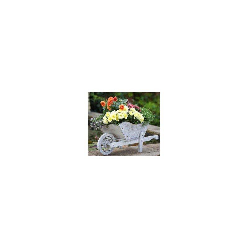 """Blumentopf """"Schubkarre"""" aus Holz weiss (30140302)"""
